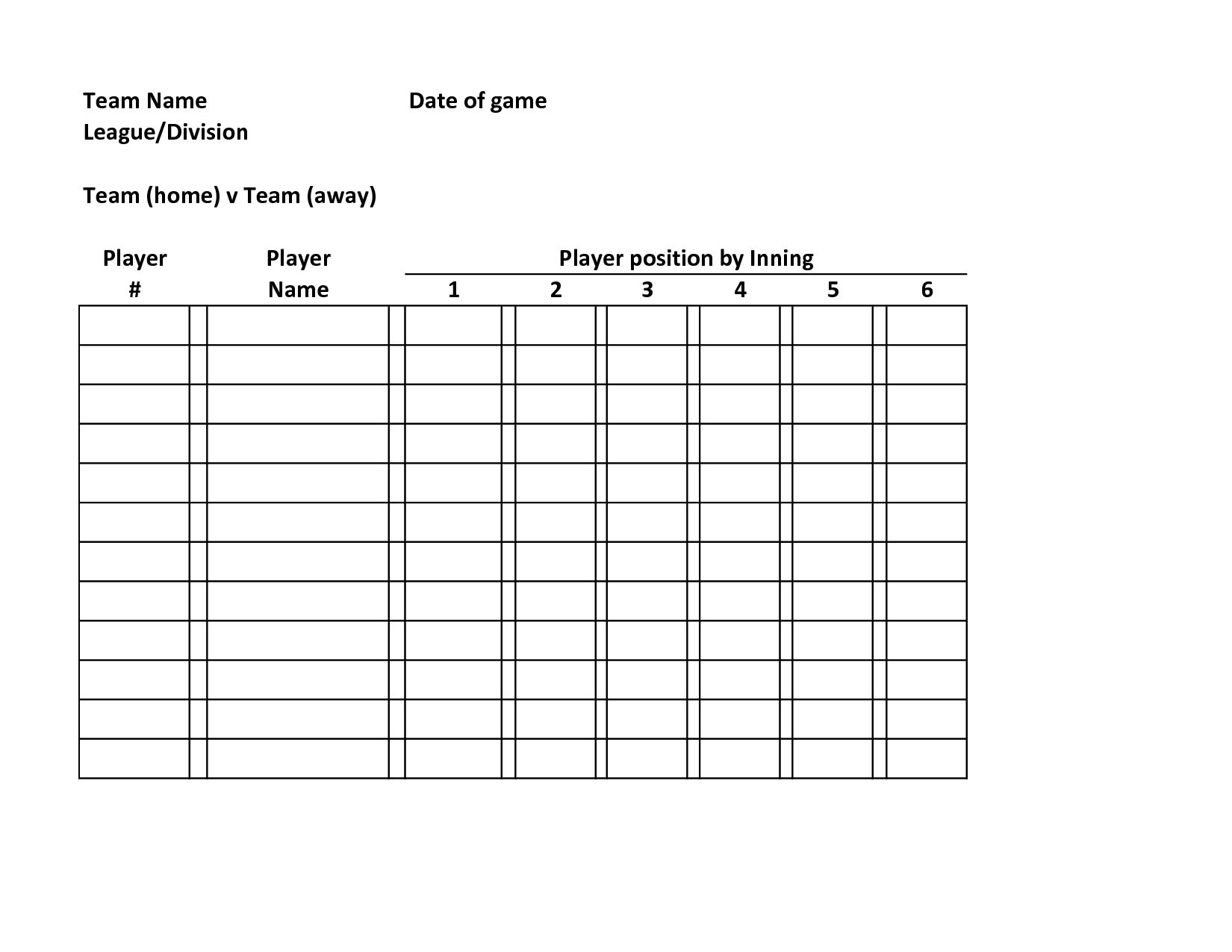 Baseball Lineup Defensive Baseball Roster Template Team Name Date