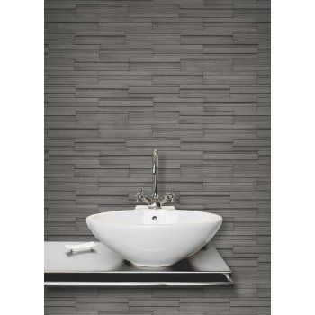 Fine Decor Ceramica Slate Tile Washable Wallpaper Charcoal (FD40126)   Fine  Decor From I Love Wallpaper UK