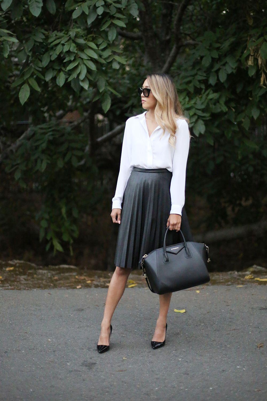 0bc5fb0573bb8 Beyond Basic Blog J Crew Pleated Leather Midi Skirt Givenchy Antigona