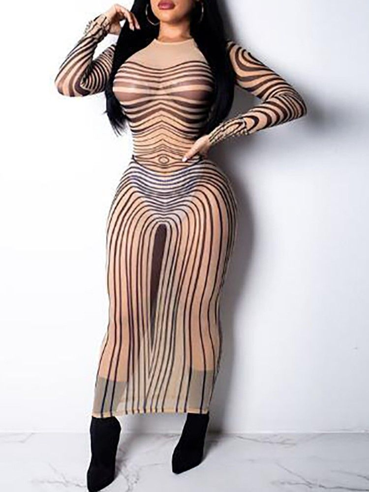 boutiquefeel   Sheer Mesh Random Striped Print Dress in 2019 ... dd2ed9fec