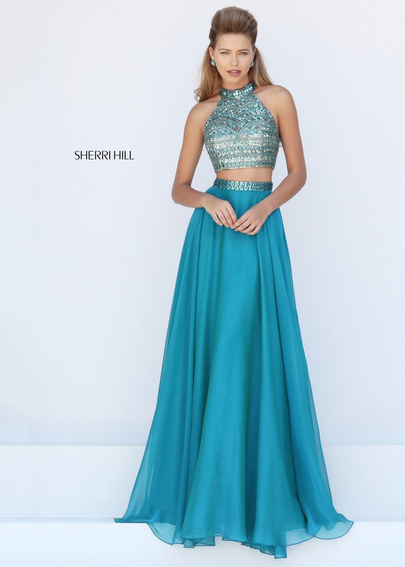Sherri Hill 50096 Sparkly Jeweled Crop Top 2 Piece Dress | Jewel ...
