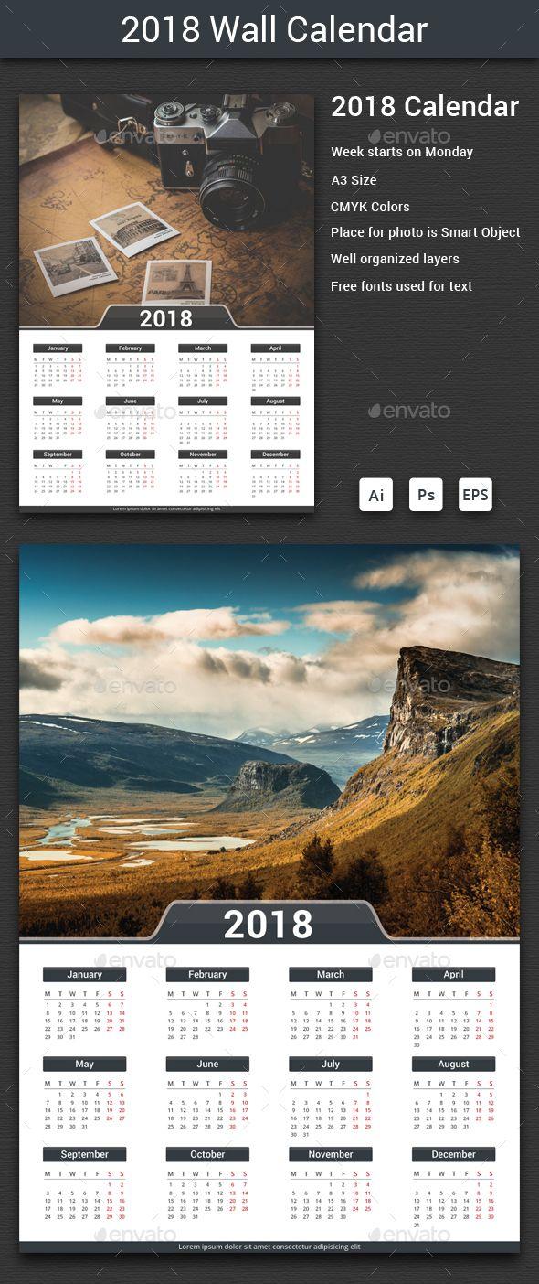 2018 Calendar | Ai illustrator, Template and Print templates