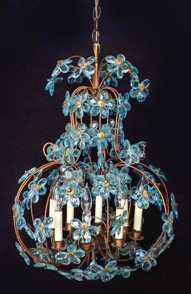Large Maison Bagues Chandelier Blue Glass Crystal Flowers Fench Vintage Antique Na French