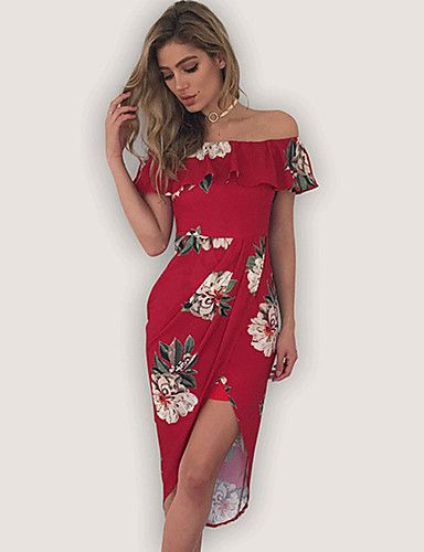3b7a5464 Women's Daily Going out Holiday Vintage Sexy Street chic Bodycon Sheath  Dress,Floral Boat Neck Asymmetrical Sleeveless Polyester Summer 5806025  2018 – ...