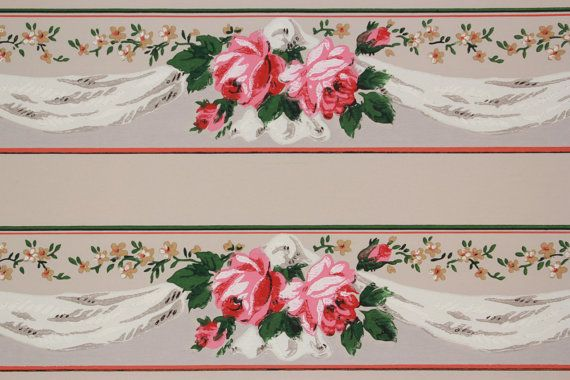1940s Vintage Wallpaper Border Pink and Orange Roses with