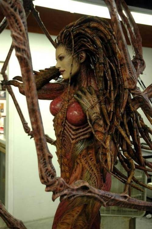 A life-size sculpture of Kerrigan, the Queen of Blades.