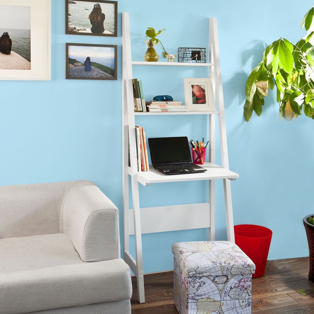 White Modern Ladder Storage Display Shelf,Desk and 2 Shelves, FRG60 ...