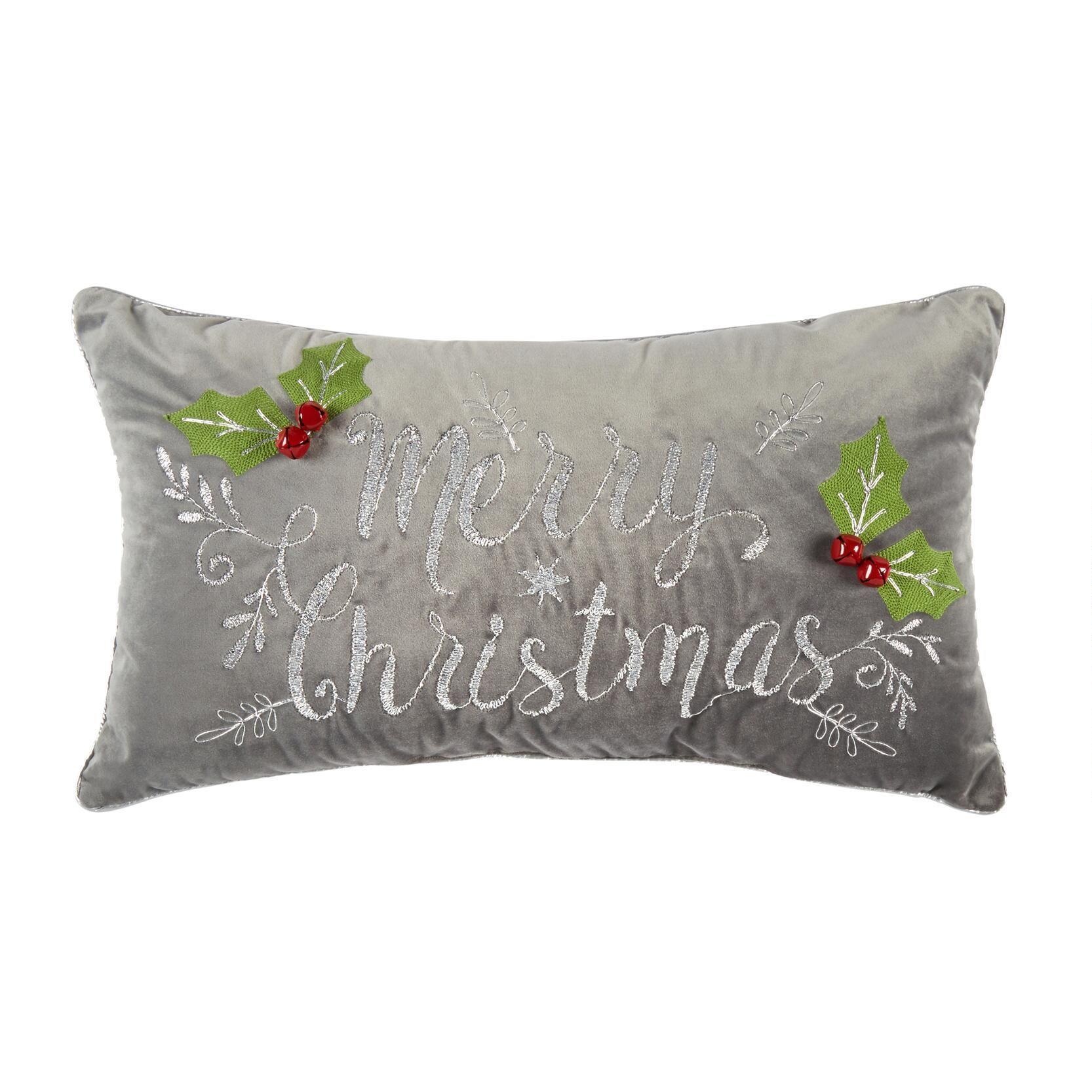 Merry Christmas Gray Oblong Throw Pillow Christmas Merry Throw Oblong Throw Pillow Throw Pillows Throw Pillows Christmas