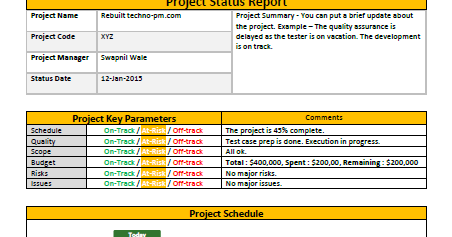 Download Free Project Status Report Template For DailyWeekly