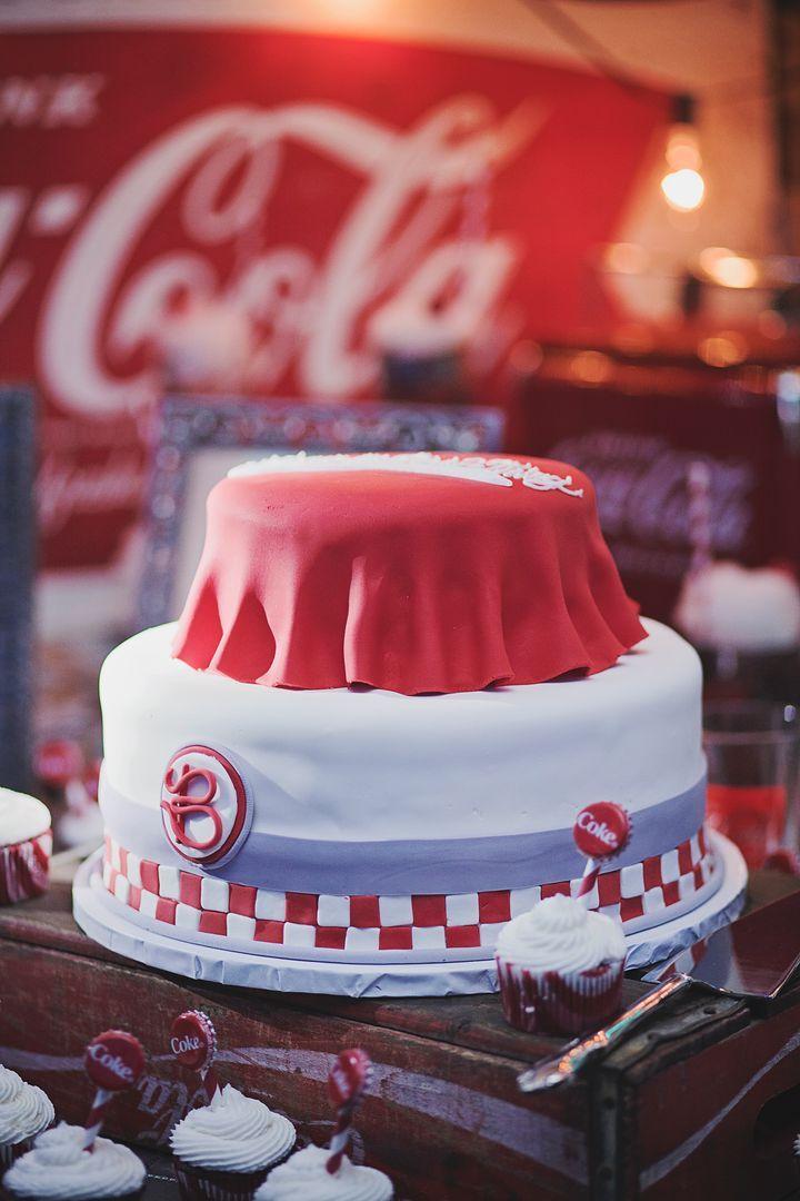 Coke grooms cake at Callie and Spencer's Coca-Cola Themed Wedding at Georiga Rustic Wedding Venue - Fritz Farm. Jaime Warren Photography