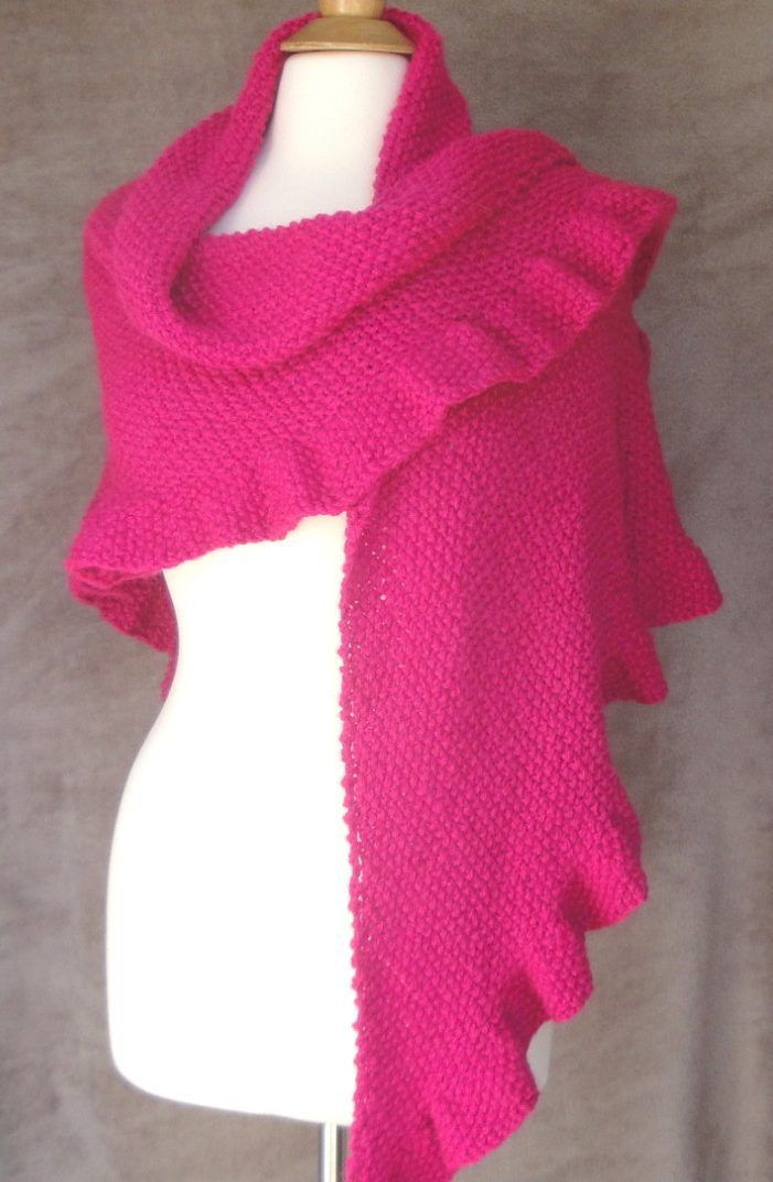 Ruffle Scarf Knitting Pattern Easy : Knitting pattern for easy Zariah Shawl with ruffle - Easy seed stitch and a f...