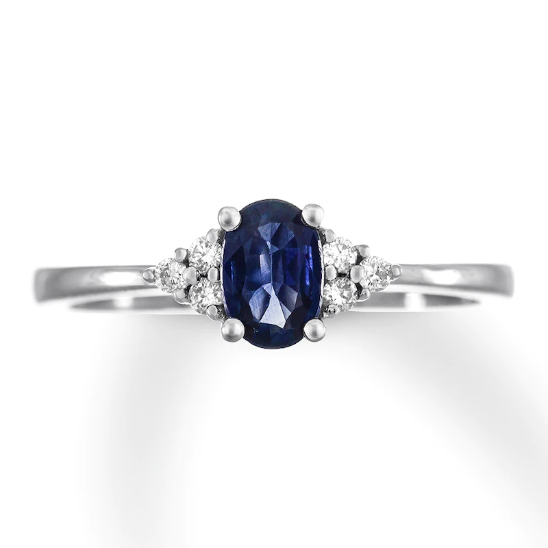 Oval Natural Sapphire Ring 1 15 Ct Tw Diamonds 10k White Gold Kay In 2020 Natural Sapphire Rings Natural Sapphire Sapphire Ring