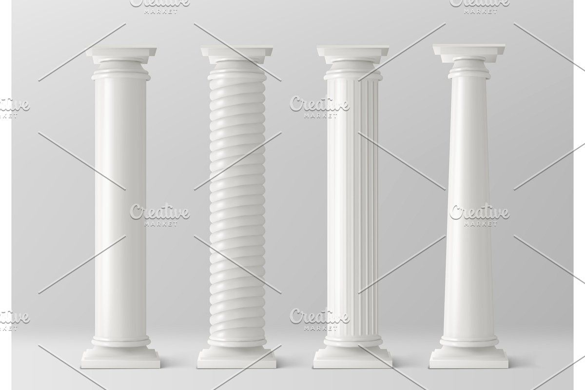 Antique Columns Set Isolated On In