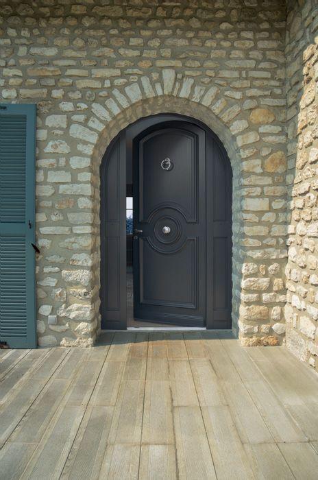 Porte d 39 entr e bois castellane cintr e avec fixes en dormant plein cintre bel 39 m portes d - Porte d entree cintree ...