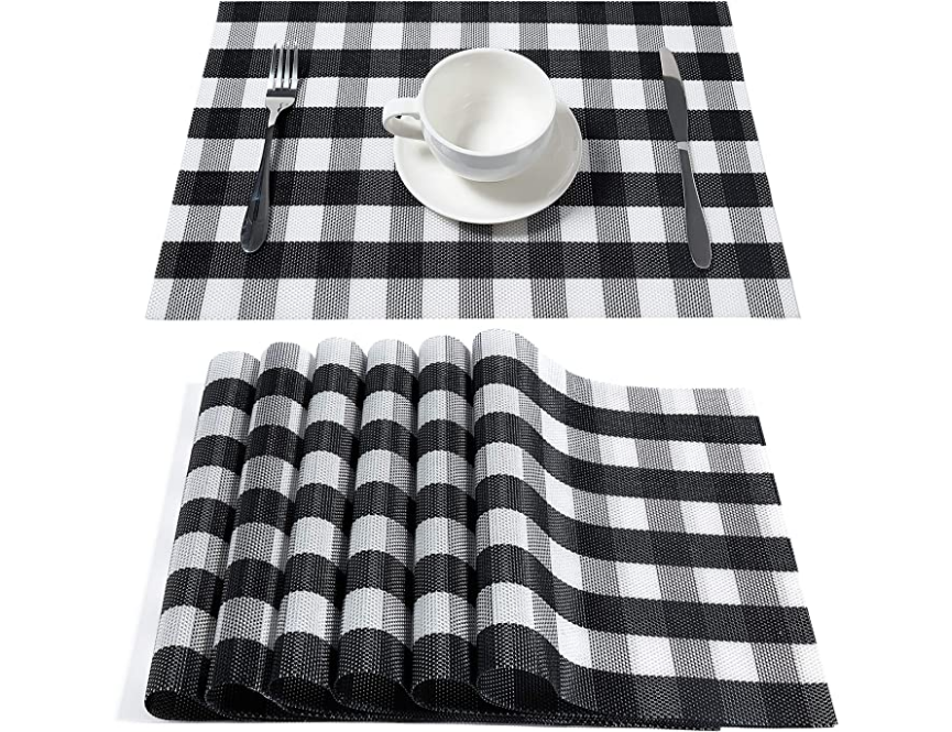 Dolopl Placemats Buffalo Check Black And White Placemats Farmhouse Buffalo Plaid Placemat White Placemats Fall Kitchen Table Dining Table In Kitchen