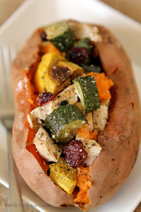 Baked Sweet Potato filled with roasted vegetables