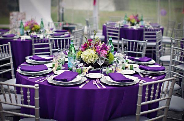Royal Purple Tablecloth Purple Wedding Reception Silver Wedding