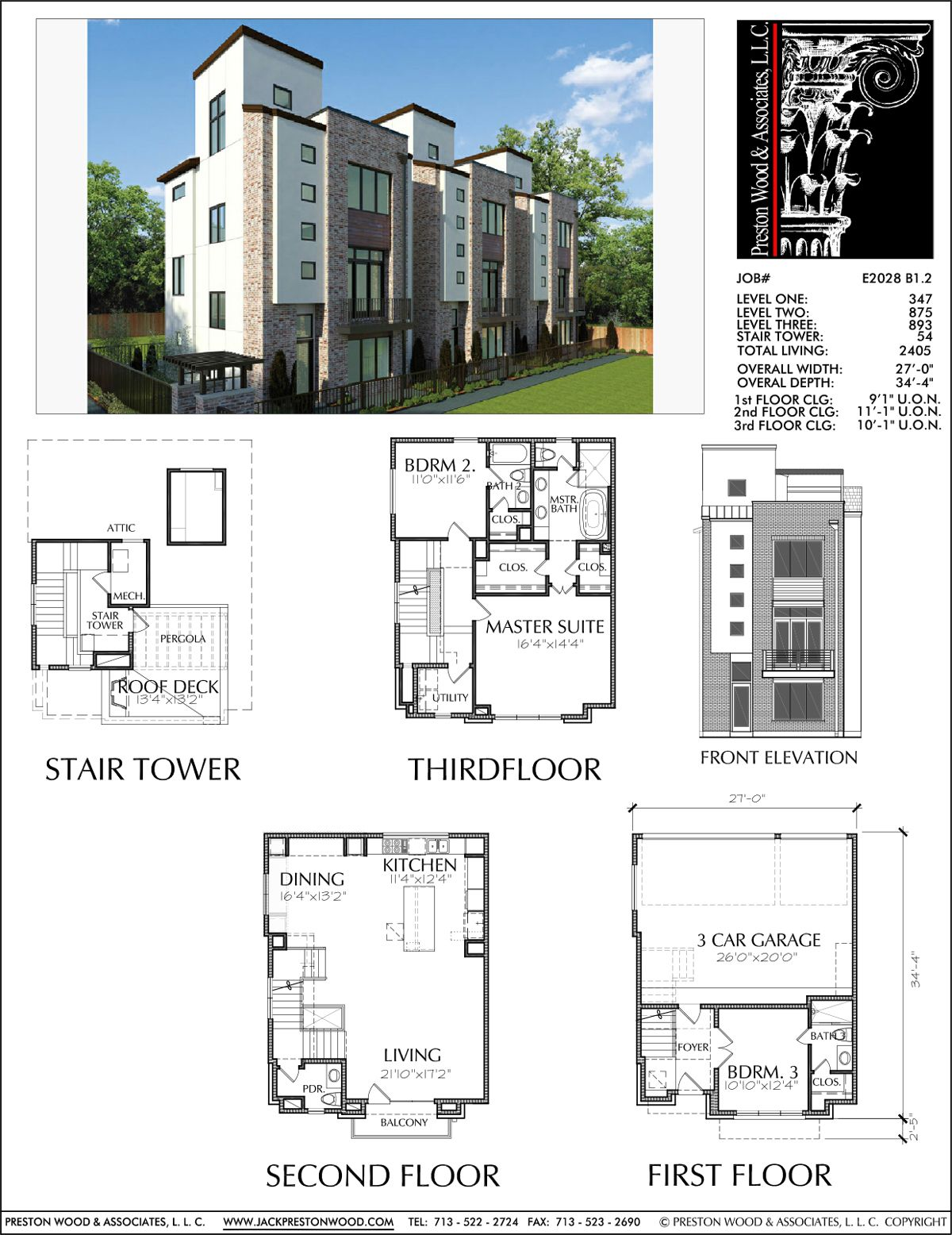 Townhome Plan E2028 B1 2 Townhouse Designs Town House Floor Plan Floor Plans