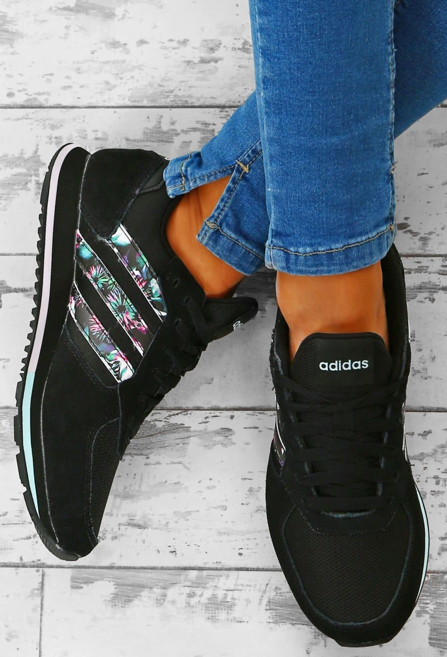 02b7647ac9928 Adidas 8K Black Floral Stripe Trainers | Pink Boutique | CLOTHES ...