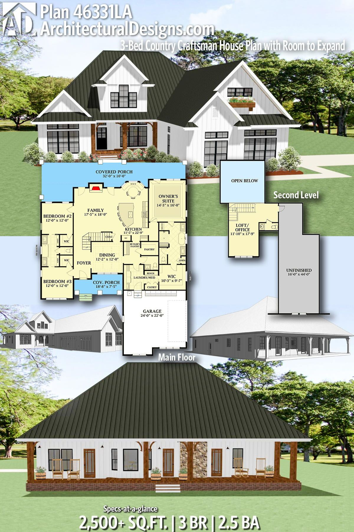 Plan 46331la 3 Bed Country Craftsman House Plan With Room To Expand In 2020 House Plans Craftsman House Plan Craftsman House