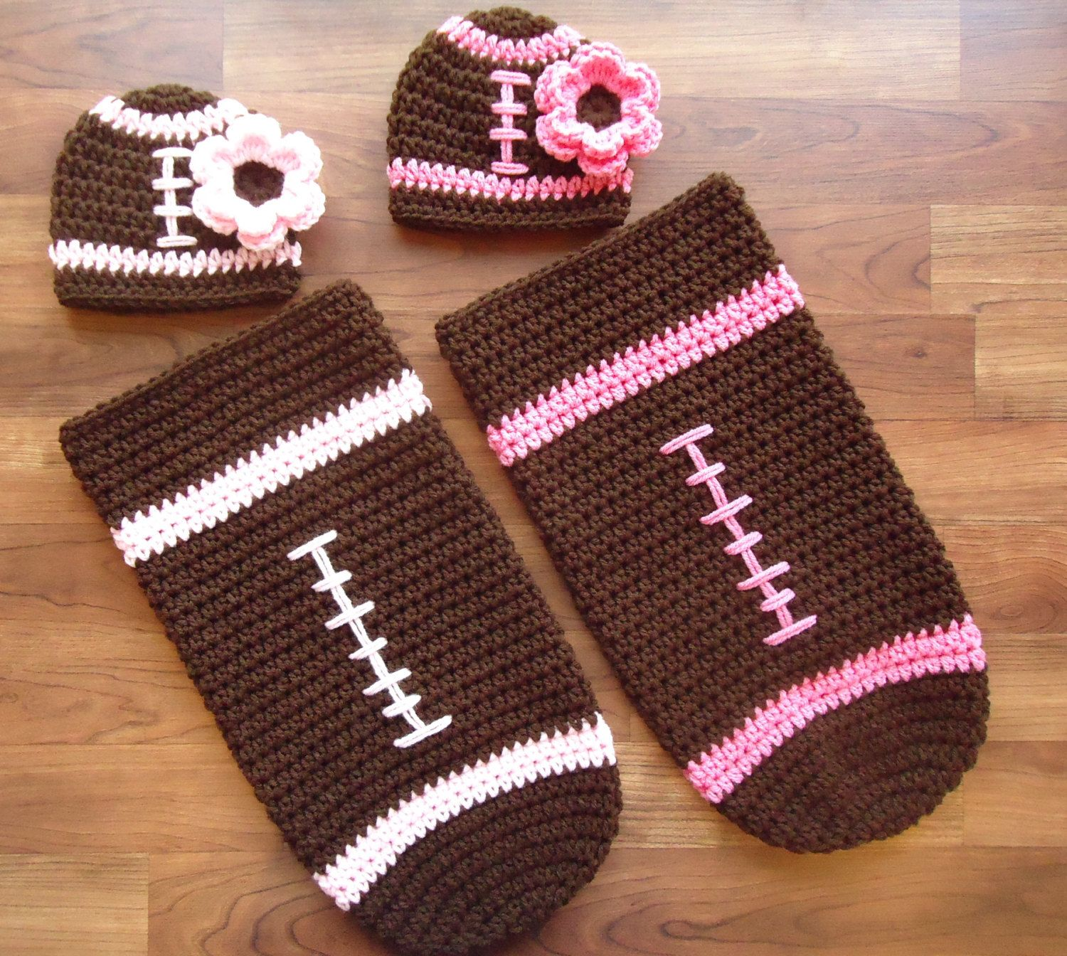 Crocheted Twin Baby Girl Football Hat & Cocoon Sets ~ Hats with ...