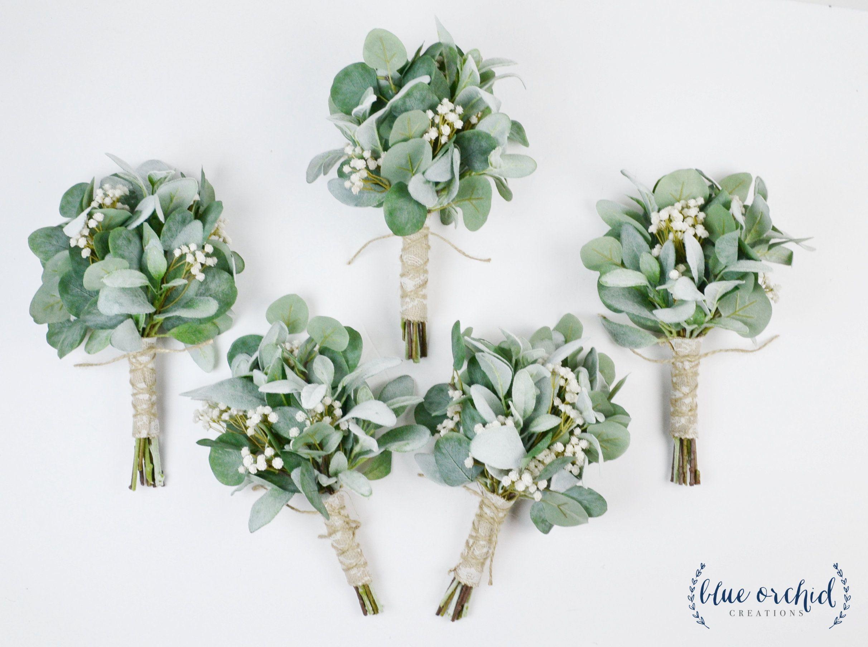 wedding flowers, greenery bouquets, wedding bouquets, bridesmaid bouquets, fall wedding, winter wedding, greenery, eucalyptus, boho bouquets