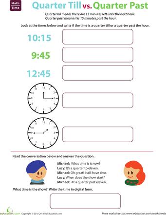 Telling Time Quarter Till And Quarter Past Math Pinterest