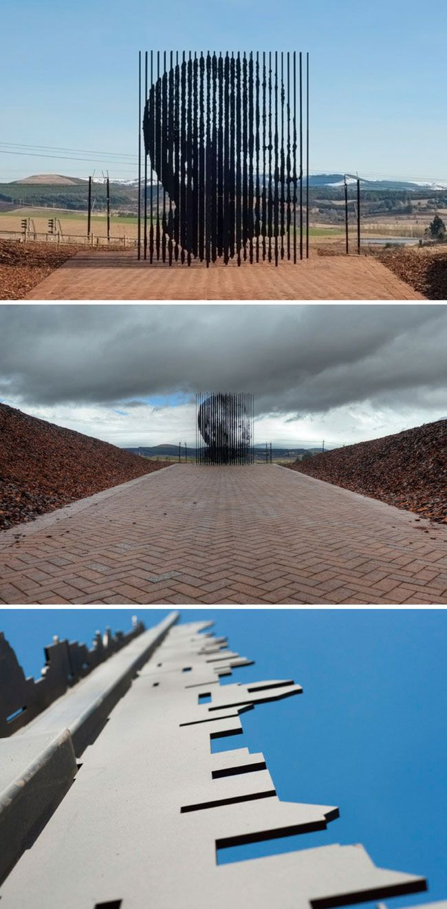 """""""Release"""" by Marco Cianfanelli (50 die cut steel columns form a monument to Nelson Mandela)"""