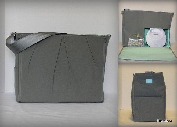 Solid Gray with Mint lining Maryssa Breast Pump Bag for Spectra S1 or S2 pumps with zipper top closure by EllaAlana on Etsy