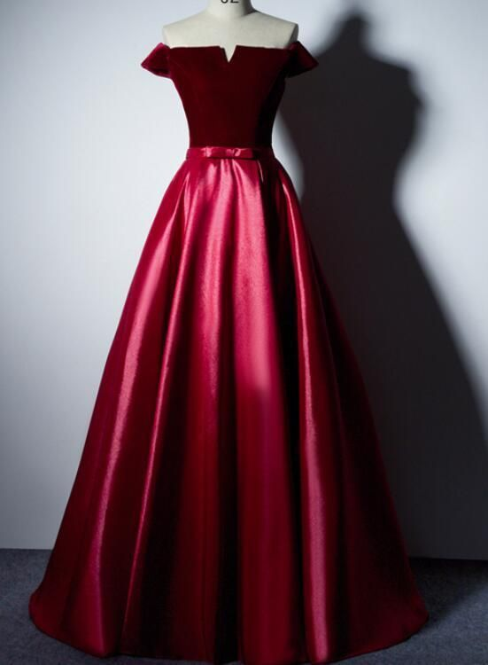 Charming Red Satin Off Shoulder Long Prom Dress with