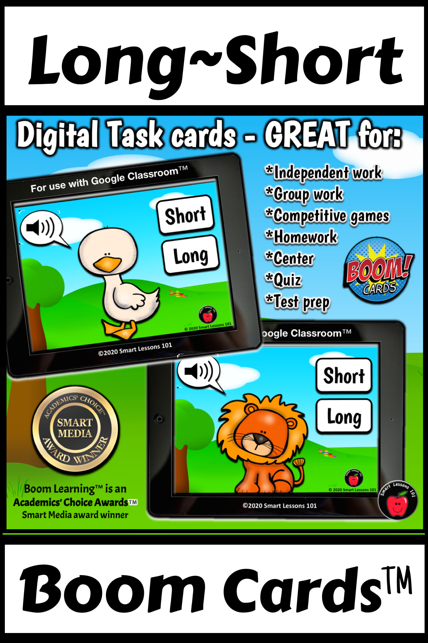 A Fun Long And Short Animal Sounds Boom Card Music Game To