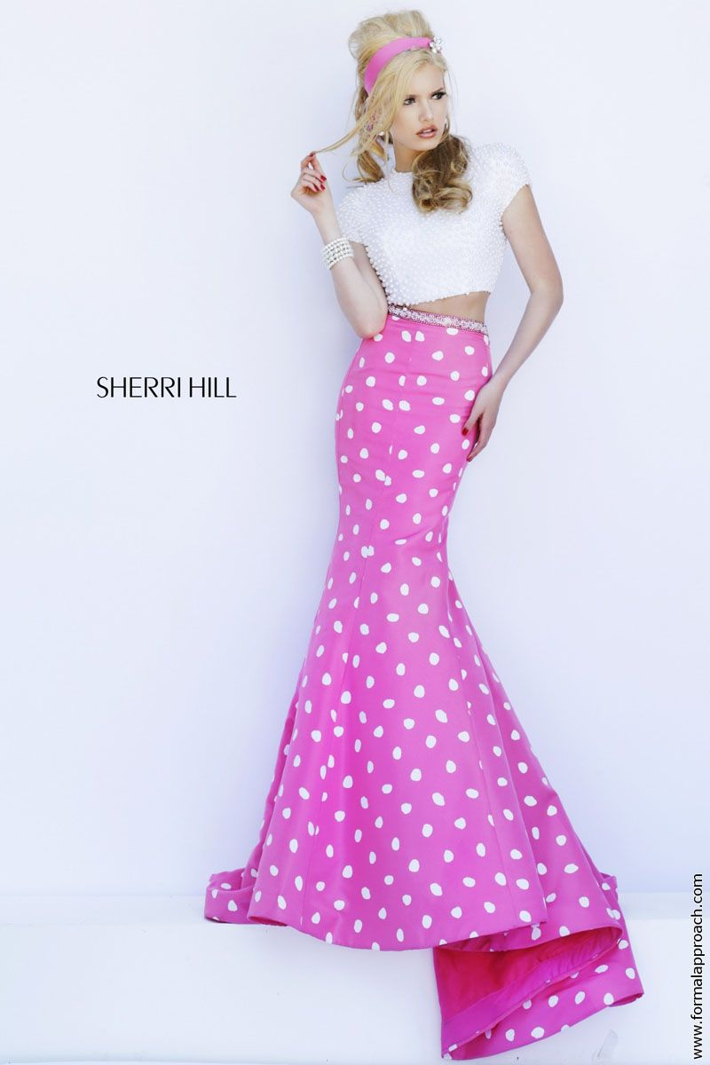 In love with this sweet polka-dot two-piece by Sherri Hill ...