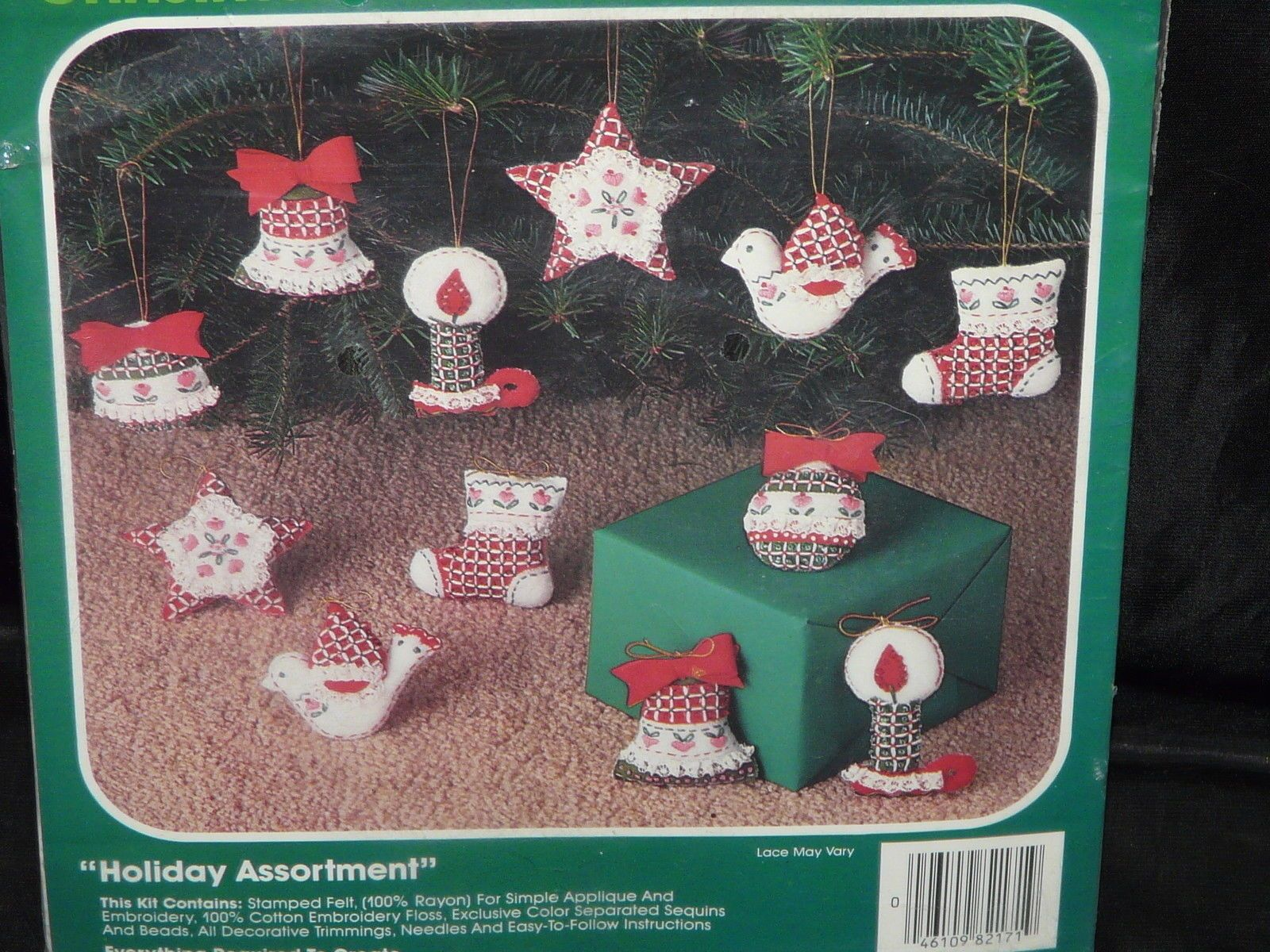 Vintage Bucilla Christmas Ornament Felt Applique Kit Jeweled Holiday Assortment