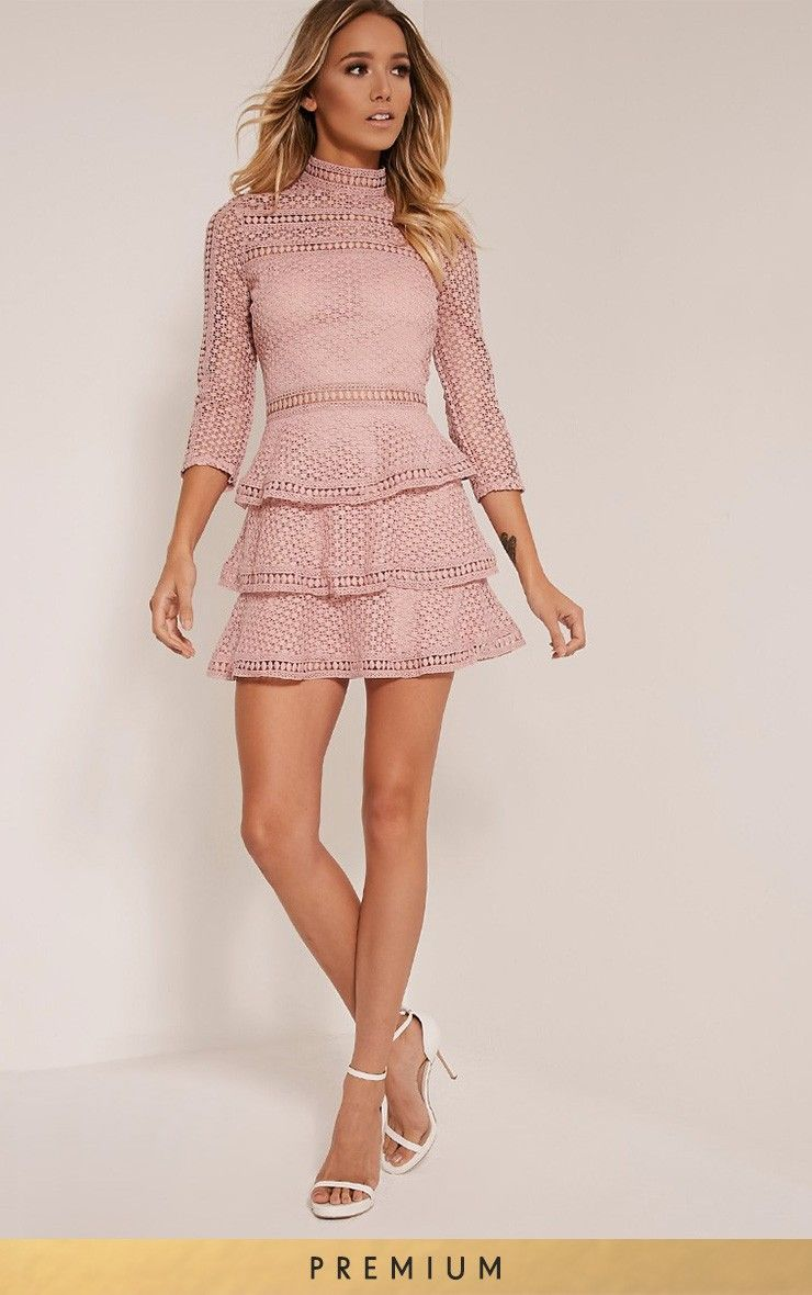 Caya Dusty Pink Lace Panel Tiered Mini Dress - 16- Dusty Pink - ML ...