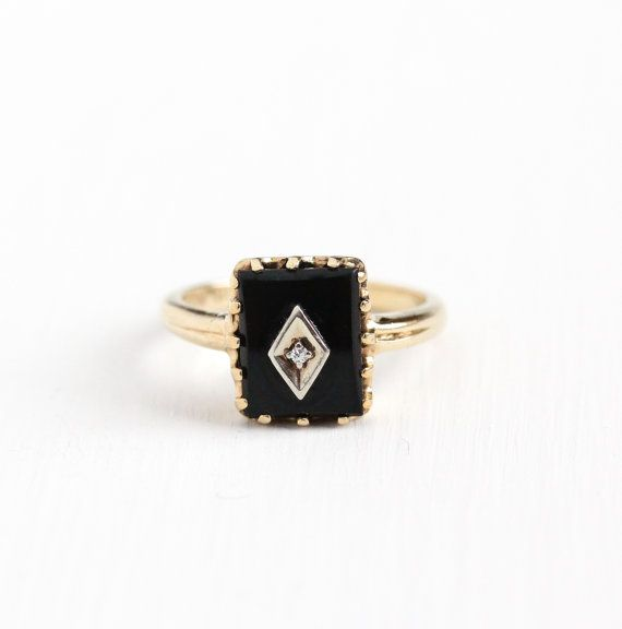 Classic Vintage 10k Rosy Yellow Gold Ring Featuring A Rectangular Black Onyx Stone With A Diamond Accent The Antique Rings Vintage Retro Jewelry Fine Jewelery
