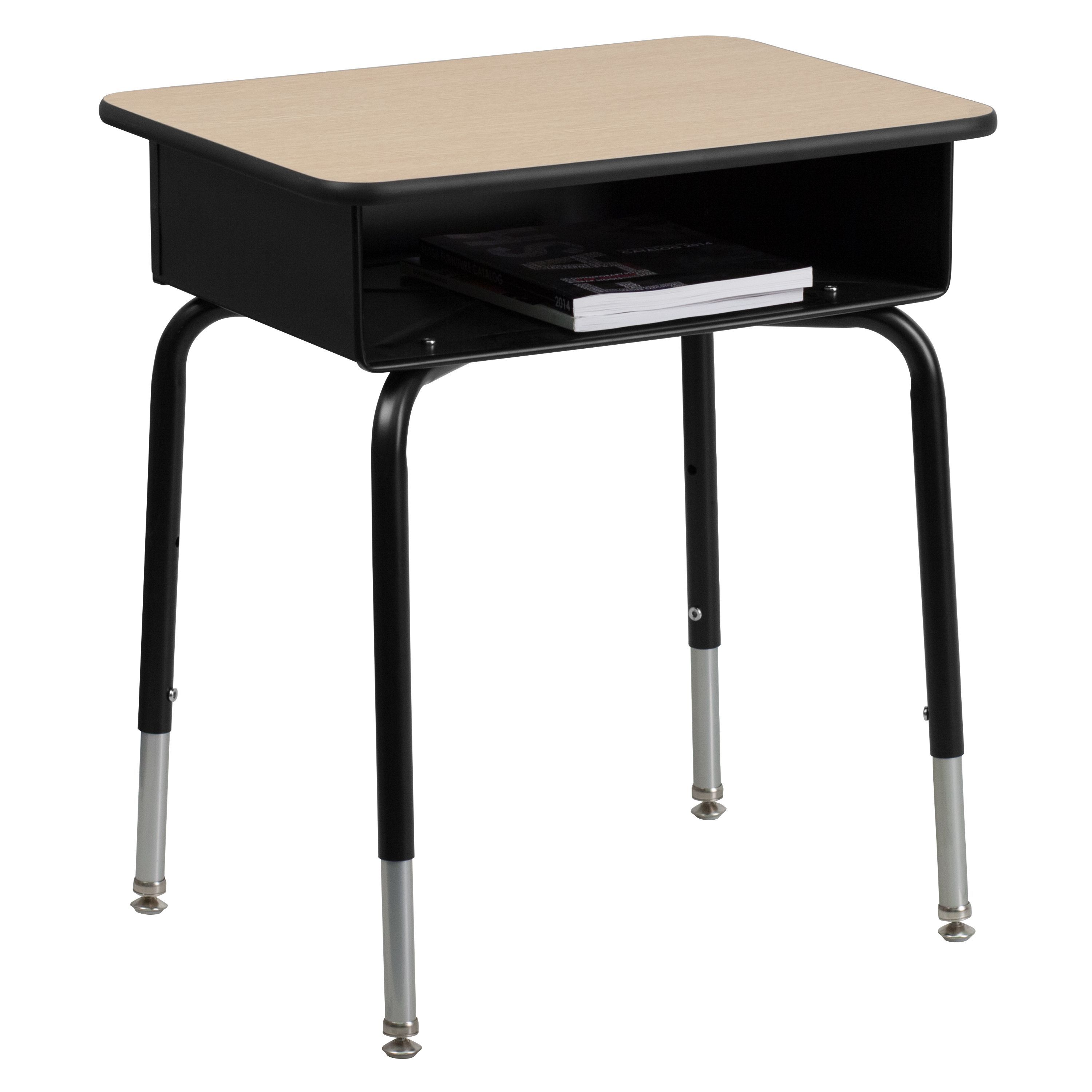 Lancaster home student desk with open front metal grey book box