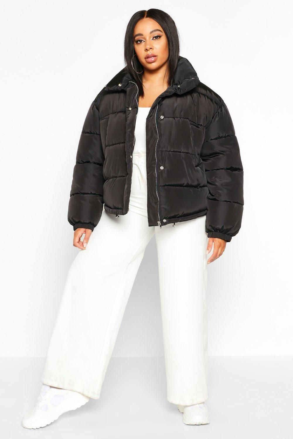 Plus Funnel Neck Cropped Puffer Jacket Boohoo Cropped Puffer Jacket Puffer Jackets Jackets [ 1500 x 1000 Pixel ]