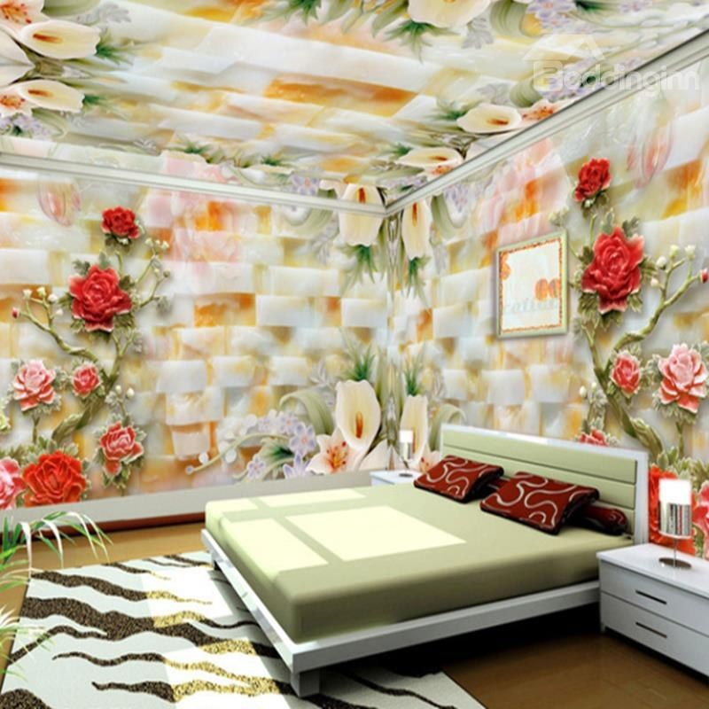 Large 3d European Pearl And Rose Jewelry Tv Background: Modern Creative Lifelike Ceramic Flowers Pattern Design