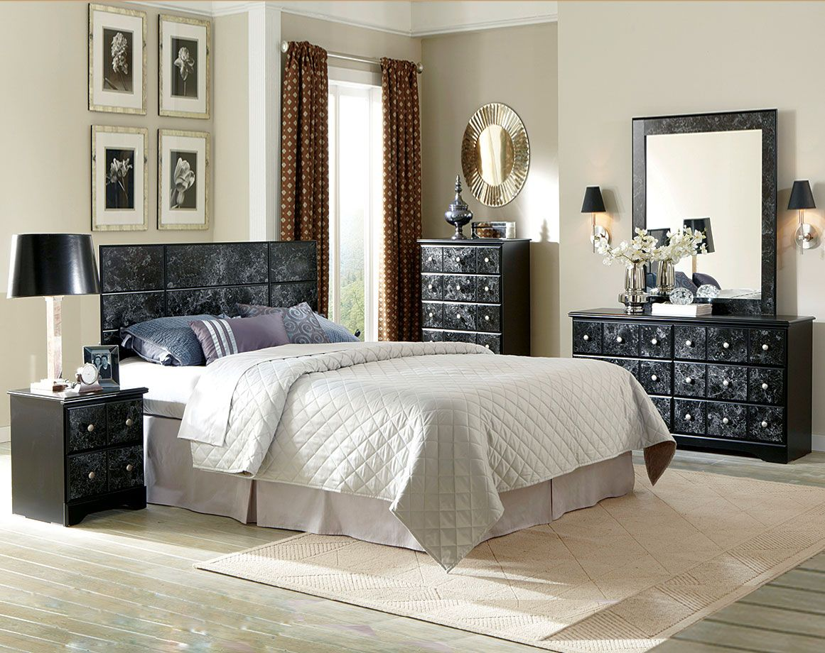 Dramatic Black and White Marble Suite Phoenix Bedroom Set