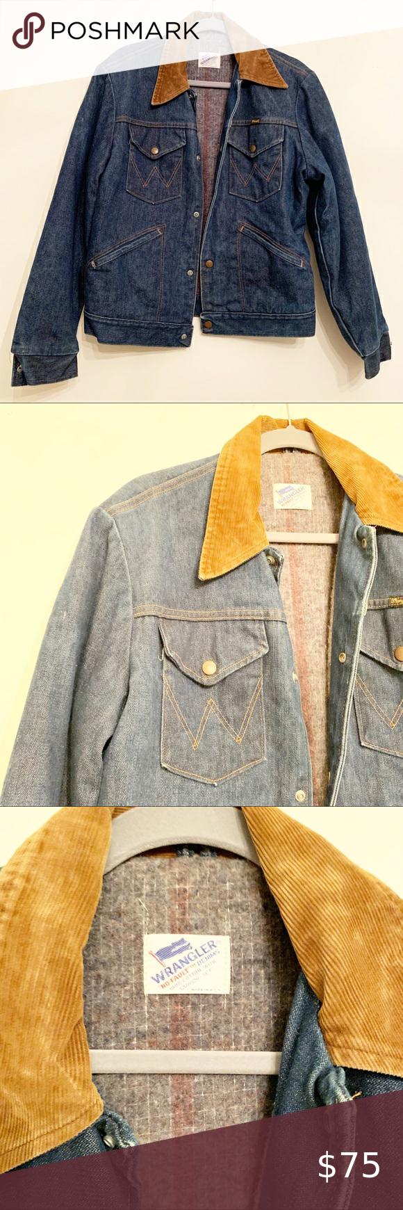 Wrangler Vintage No Fault Denim Trucker Jacket Med In 2020 Lined Denim Jacket Denim Jacket Men Light Wash Denim Jacket