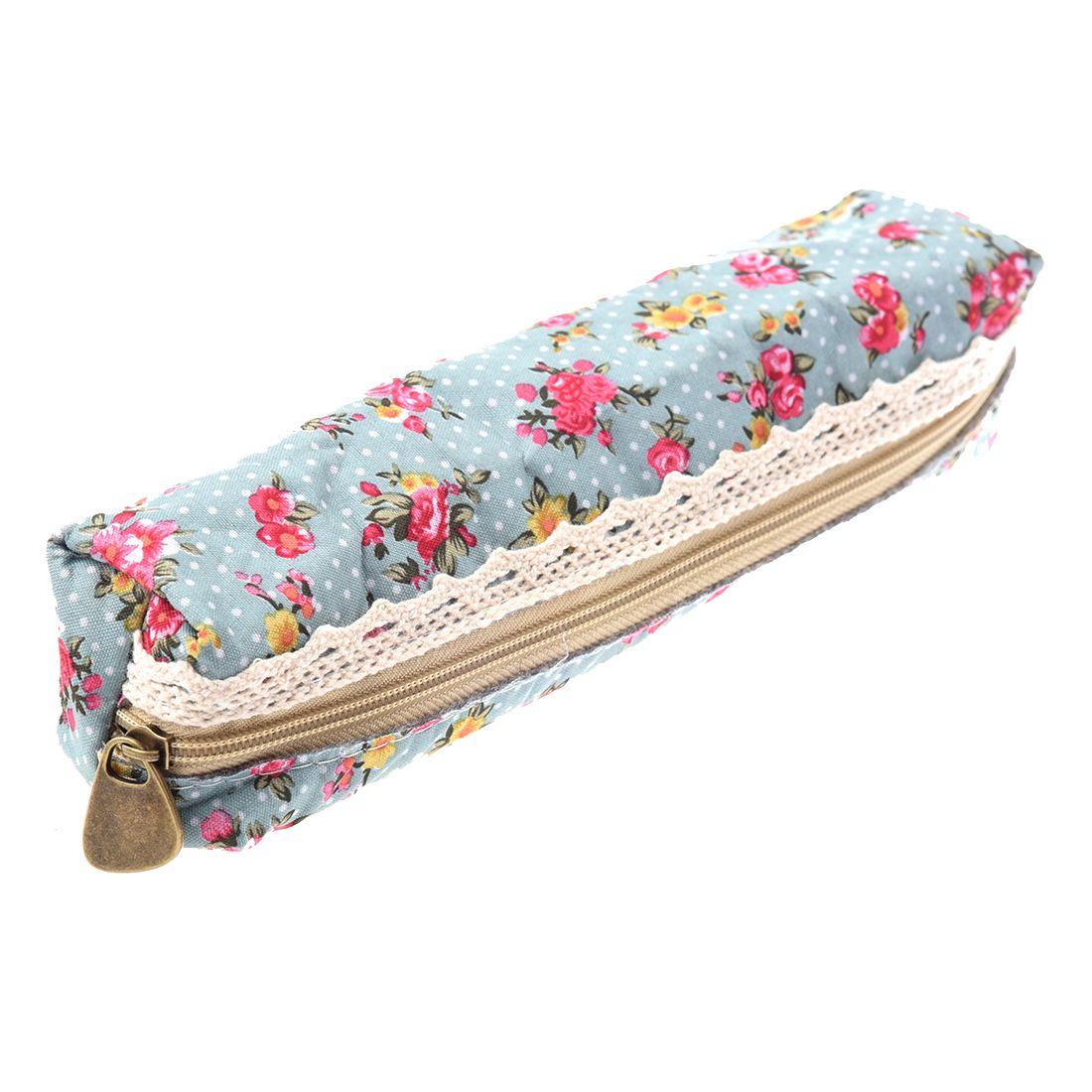 Women's Flower Floral Lace Pencil Pen Cosmetic Bag Zipper Pouch Sky Blue