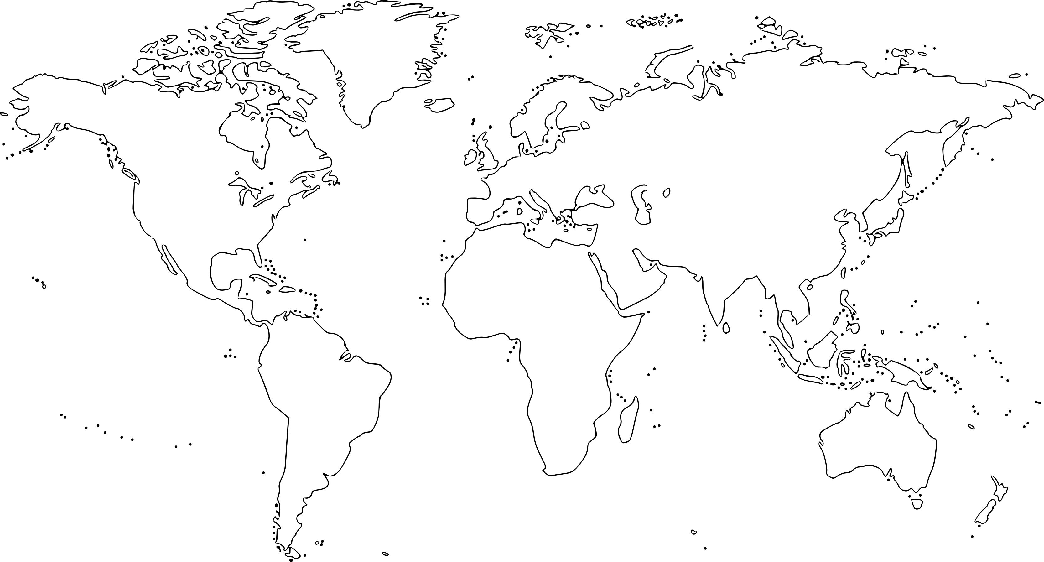 Black and white World map for colouring and naming countries ...