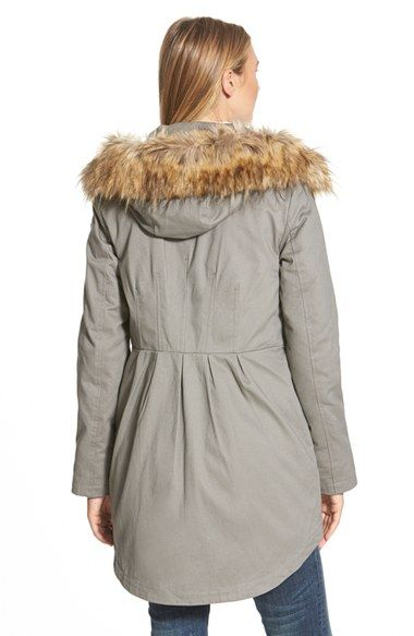 9b289fcbd Sam Edelman Twill Pleat Skirt Parka with Faux Fur Trim Hood (Online Only)