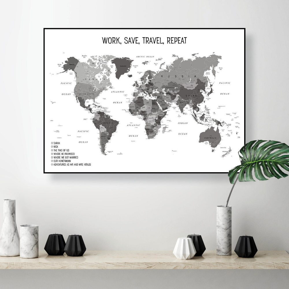 Personalised World Map For Sarah Digital Download Of Custom Map Of The World Black And White A2 Wall Printables World Map Art World Map Wall Art