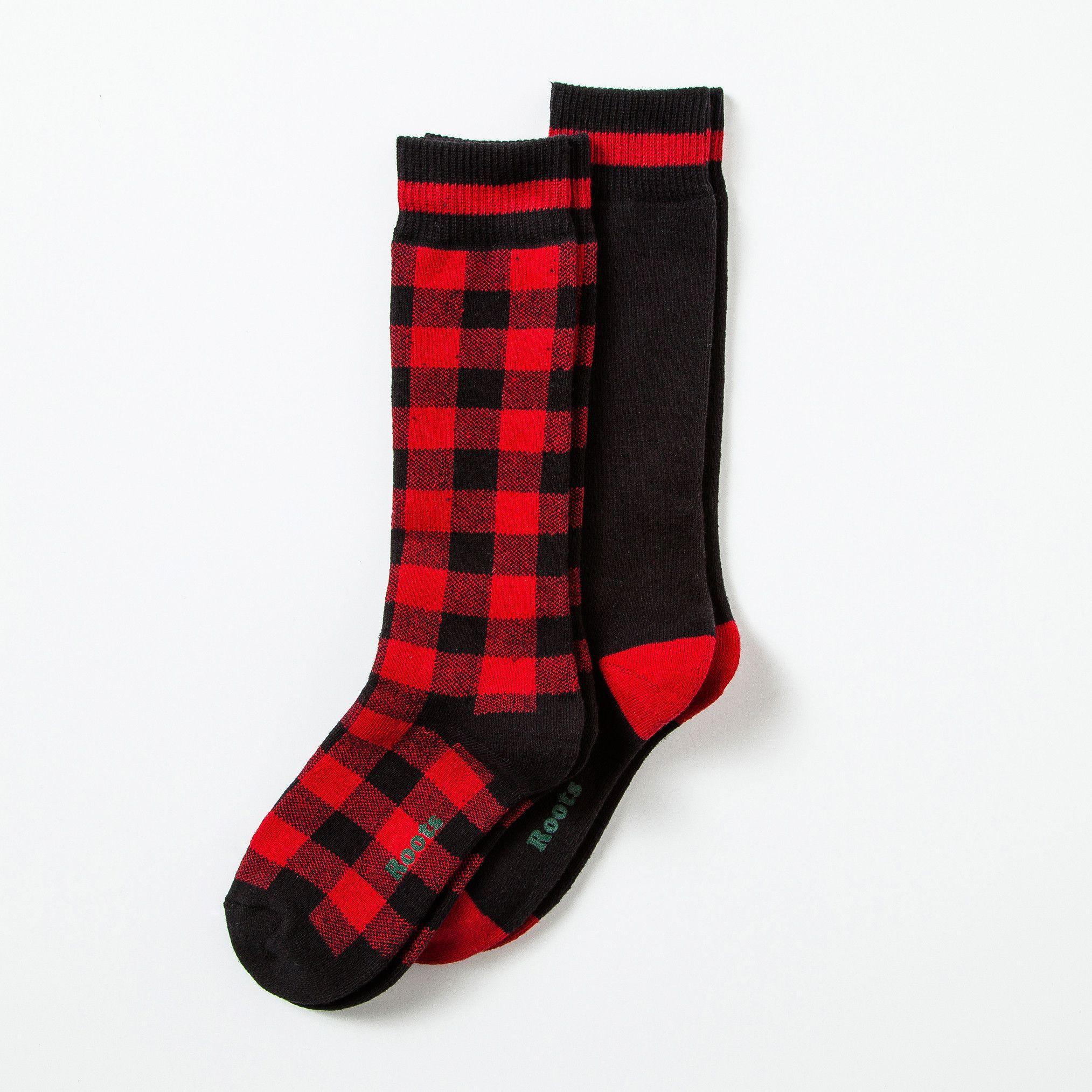 Womens Buffalo Check Socks 2 P Roots Socks For Women Socks Women Winter Wear