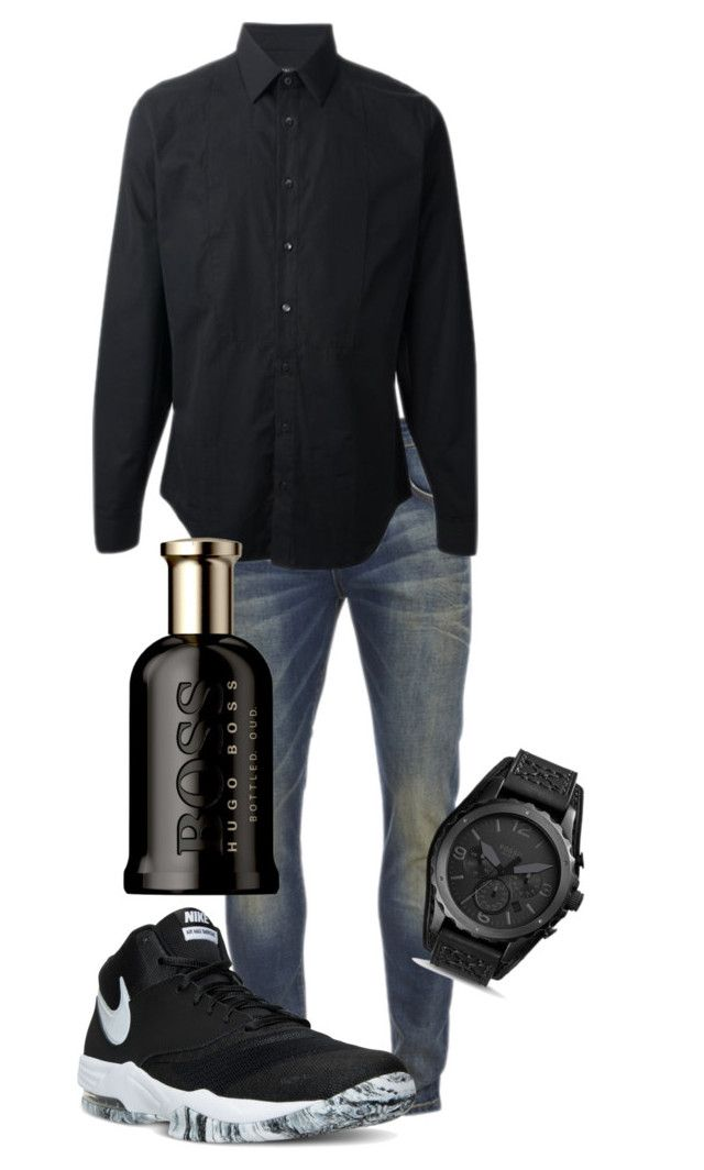 """Untitled #28"" by therealexandra on Polyvore featuring Scotch & Soda, Gucci, NIKE, FOSSIL, HUGO, men's fashion and menswear"