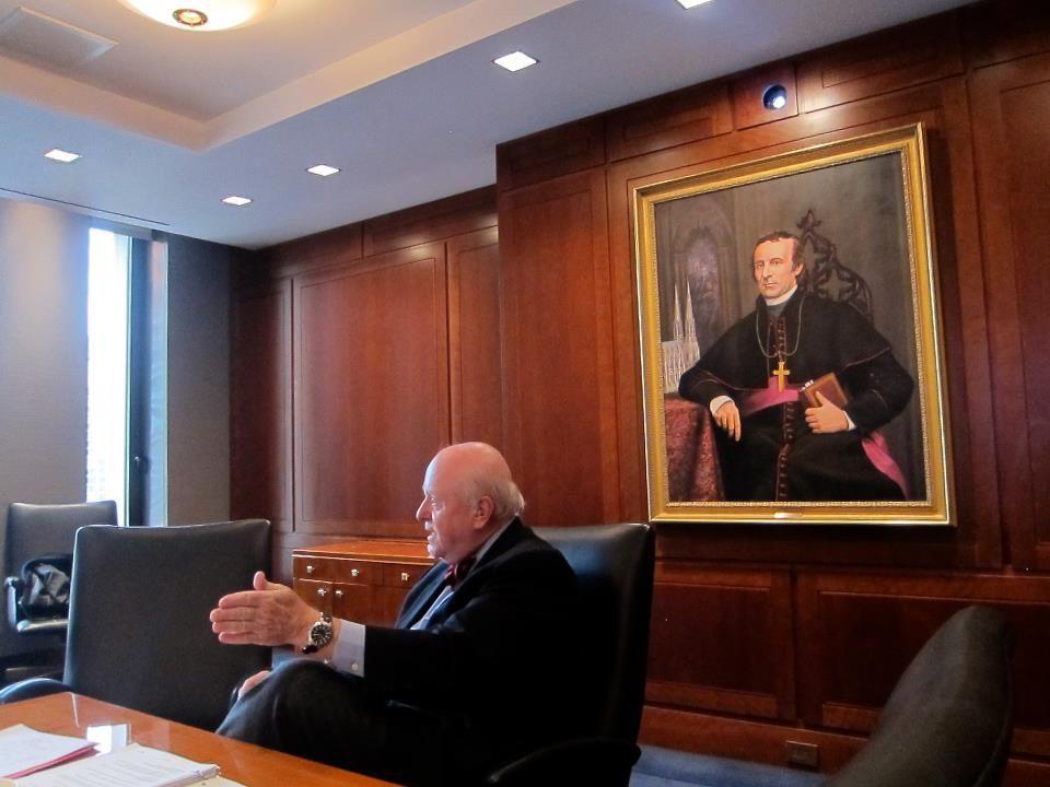 "Meeting under the gaze of Cardinal John ""Dagger John"" Hughes. one of teh founders of Fordham."