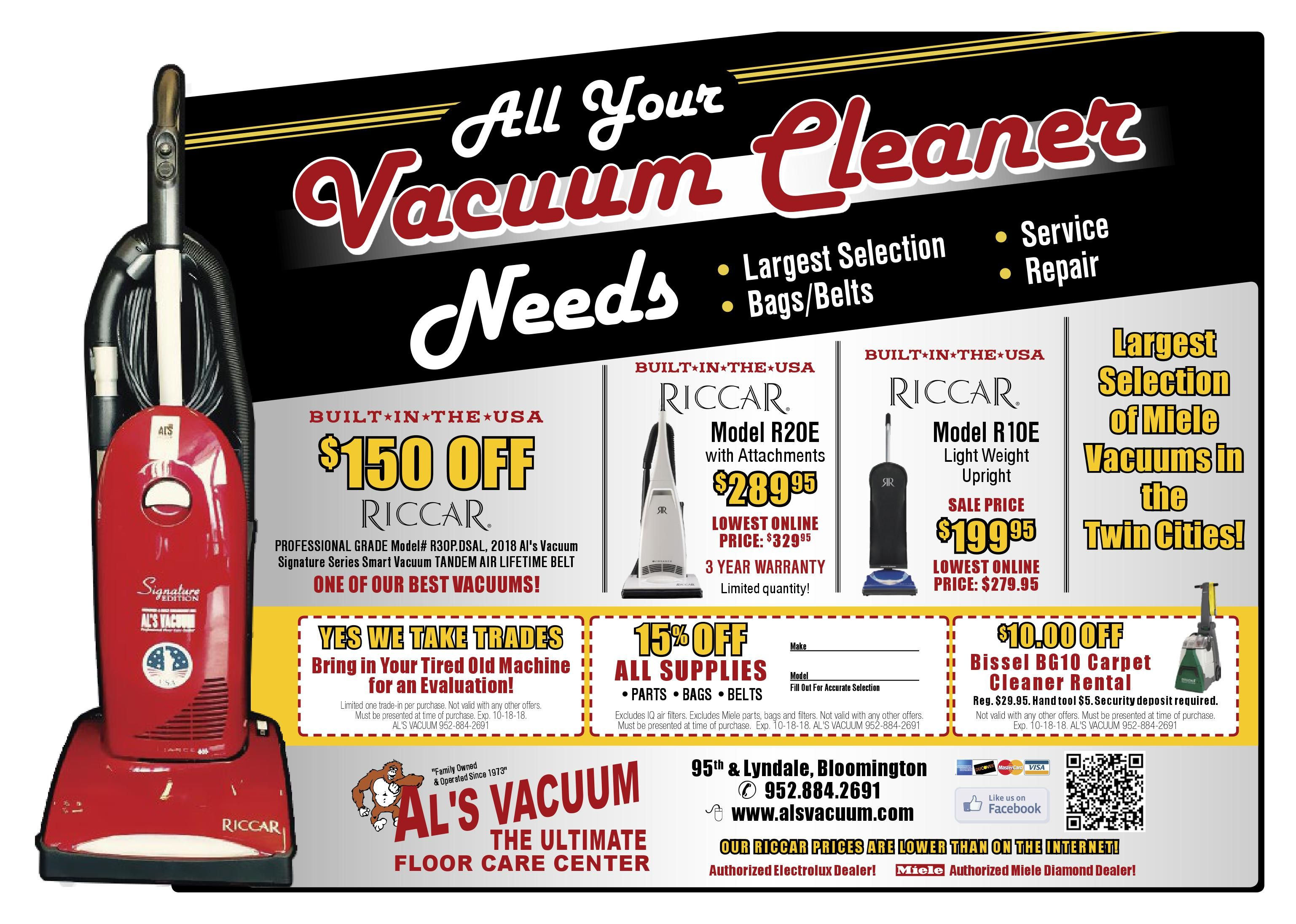 Labor Day Sale At Al S Vacuum All Your Vacuum Cleaner Needs Largest Selection Bags Belts Service Repair Sale On Now Thr Miele Vacuum Riccar Vacuum Vacuums