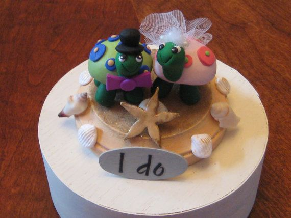 Custom clay Beach/Ocean theme Turtle Love Wedding by PawsnClaws, $65.00