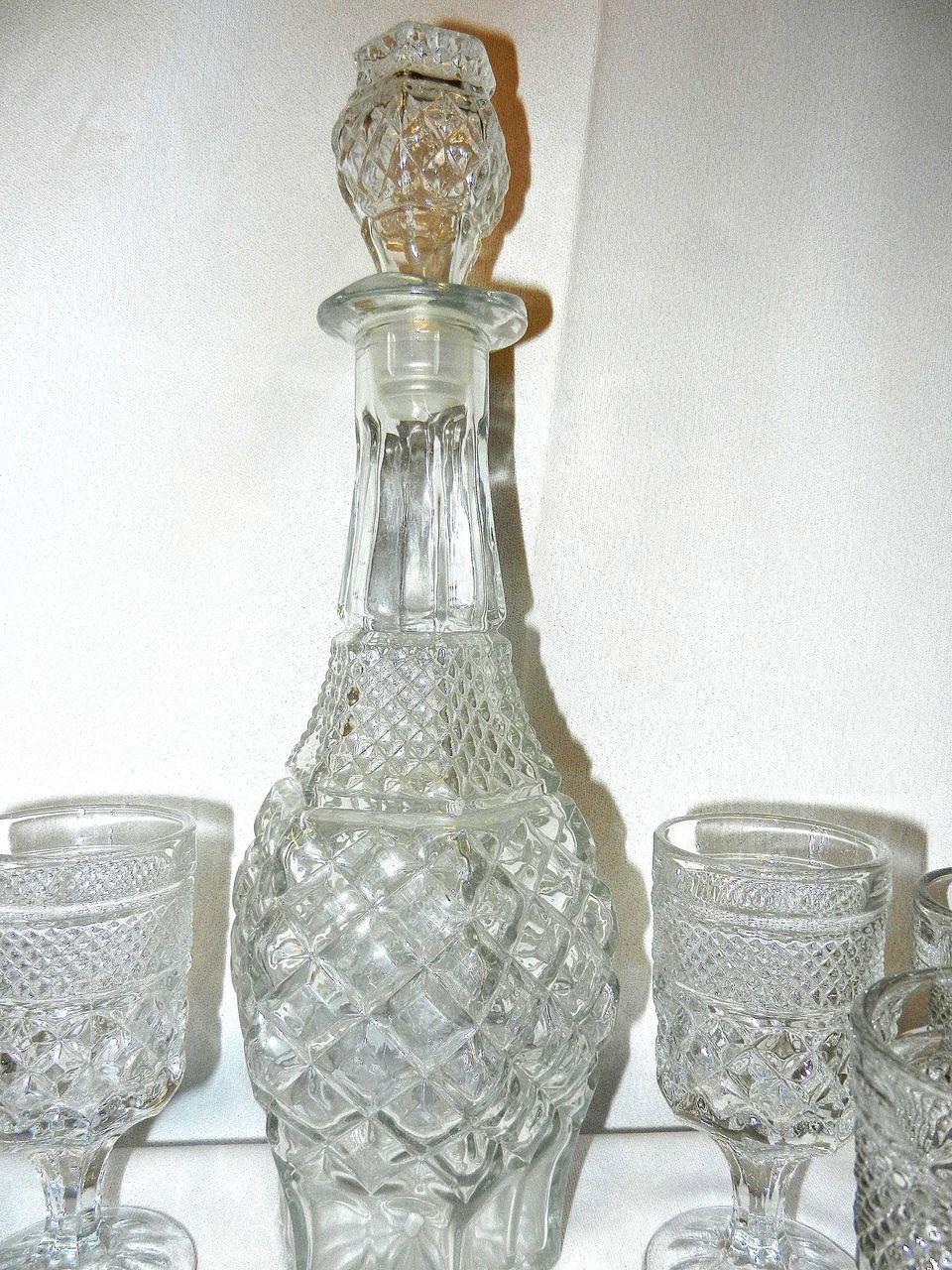 Vintage Anchor Hocking Wexford Wine Decanter Glass Set Glass Decanter Set Glass Vintage Glassware